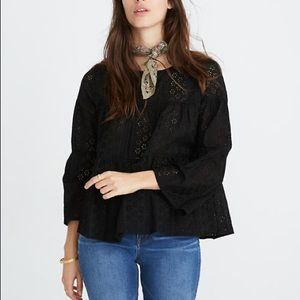 Madewell Eyelet Tiered Button-Back Top Blouse